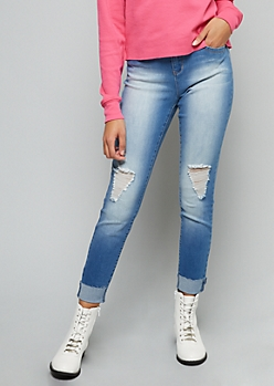YMI Wanna Betta Butt Medium Wash Cuffed Ankle Jeans