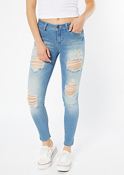 YMI Wanna Betta Butt Light Wash Distressed Jeggings