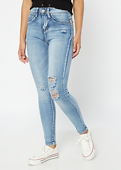 YMI Luxe Lift Medium Acid Wash Distressed Jeggings