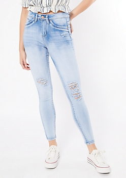 YMI Luxe Lift Light Wash Distressed Jeggings