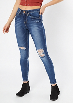 YMI Luxe Lift Dark Wash Distressed Skinny Jeans