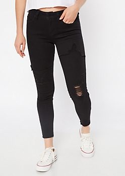 YMI Wanna Betta Butt Black Distressed Jeggings