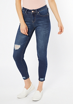 YMI Wanna Betta Butt Dark Wash Distressed Ankle Jeggings