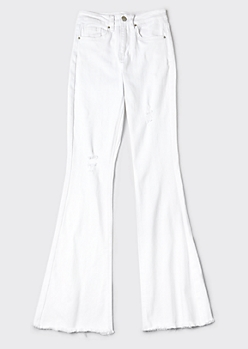 YMI White High Waisted Frayed Flare Jeans