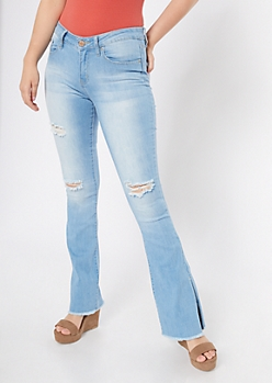 YMI Light Wash Distressed Slit Side Flare Jeans