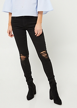 Wanna Betta Butt Black Triple Button Destroyed Skinny Jeans in Regular
