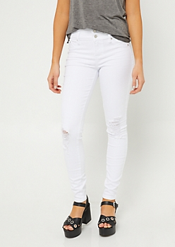 Better Butt White Triple Button Destroyed Skinny Jeans in Regular