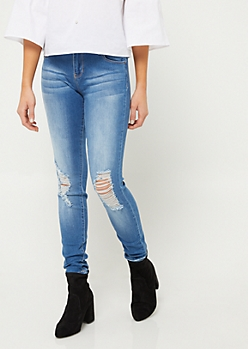 Wanna Betta Butt Medium Wash Triple Button Destroyed Skinny Jeans in Regular