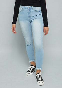 YMI Light Wash High Waisted Raw Ankle Shaping Jeans