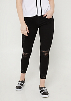 YMI Wanna Betta Butt Black Destroyed Cropped Jeans