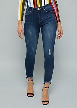 YMI Dark Wash High Waisted Raw Ankle Shaping Jeans