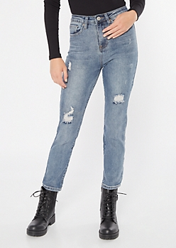 YMI Dream Throwback Medium Wash Straight Ankle Jeans