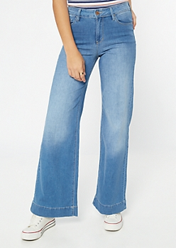 YMI Medium Wash High Waisted Wide Leg Jeans