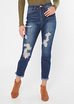 YMI Dream Dark Wash Distressed Straight Ankle Jeans