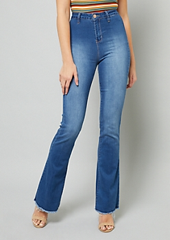 YMI Wanna Betta Butt High Waisted Raw Hem Flared Jeans