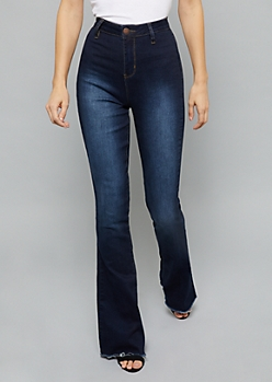 YMI Wanna Betta Butt Dark Wash Extra High Waisted Flared Jeans