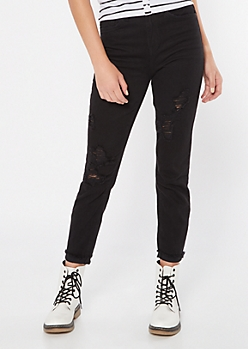 YMI Dream Black Ripped Ankle Skinny Jeans