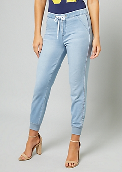 YMI Light Wash Side Striped Denim Pull On Joggers