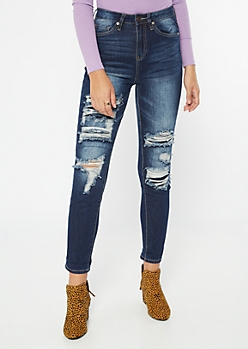 YMI Dream Dark Wash Distressed Skinny Ankle Jeans