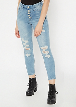 Light Wash Exposed Button Distressed Curvy Jeggings