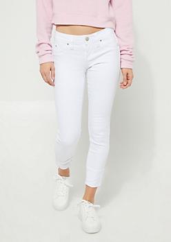 YMI Wanna Betta Butt White High Waisted Cuffed Skinny Jeans