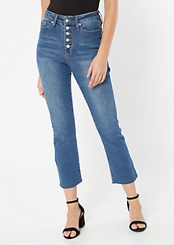 YMI Dream Throwback Medium Wash Button Fly Flare Jeans