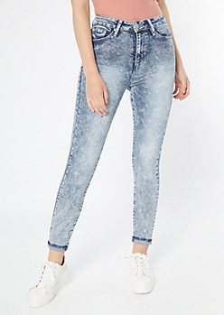 YMI Dream Acid Wash Throwback Skinny Mom Jeans