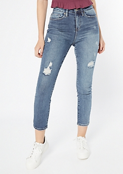 YMI Dream Medium Wash Throwback Skinny Mom Jeans
