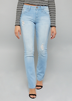 YMI Wanna Betta Butt Light Wash Distressed Bootcut Jeans