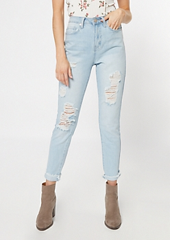 YMI Light Wash High Rise Ankle Skinny Jeans