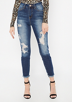 YMI Dark Wash Distressed Rolled Skinny Jeans