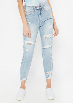 YMI Light Wash Distressed Ankle Skinny Jeans