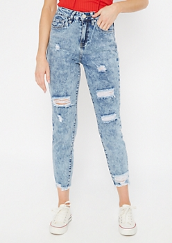 YMI Light Acid Wash High Waisted Ripped Jeggings