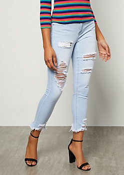 YMI Light Wash Distressed Frayed Ankle Skinny Jeans