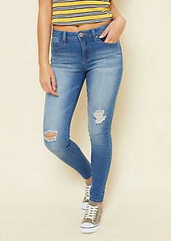 YMI Medium Wash High Waisted Distressed Slimming Skinny Jeans