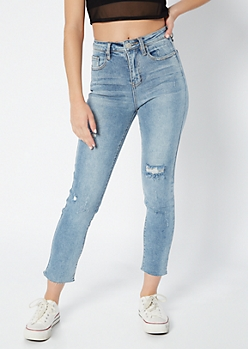 YMI Light Wash Raw Cut Distressed Jeans