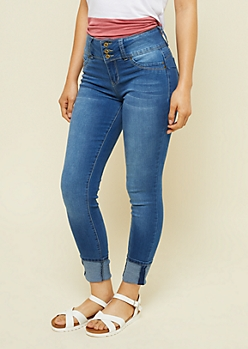 YMI Wanna Betta Butt Medium Wash Cuffed Cropped Jeans