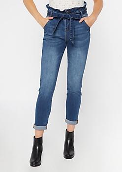 Dark Wash Paperbag Waist Cuffed Skinny Jeans