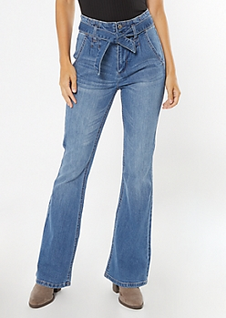 Medium Wash Paperbag Waist Flare Jeans
