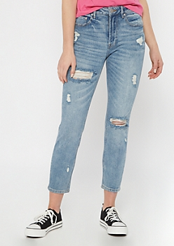 Throwback Light Wash High Rise Skinny Mom Jeans in Regular