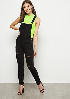 Black Distressed Skinny Rolled Cuff Jean Overalls