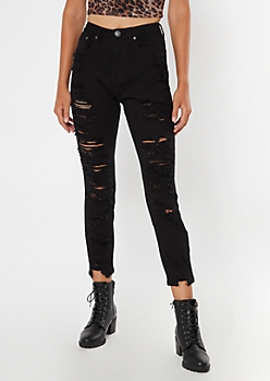 Black High Waisted Ripped Ankle Mom Jeans
