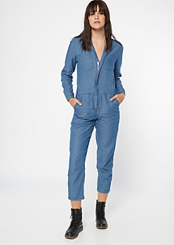 Medium Wash Chambray Coverall Jumpsuit