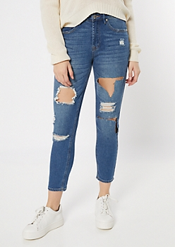 Medium Wash Cutout Distressed Mom Jeans