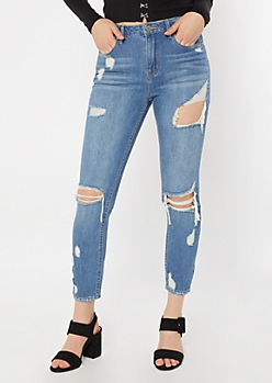 Throwback Medium Wash Distressed Mom Jeans