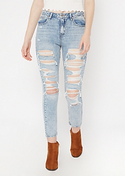 Throwback Light Wash Cutout Mom Jeans