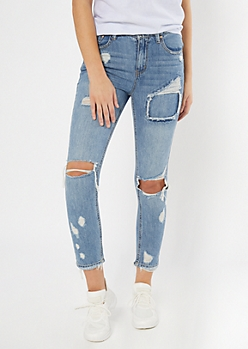 Throwback Medium Wash Destructed Mom Jeans