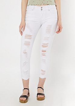 White Ripped Roll Cuff Ankle Jeggings