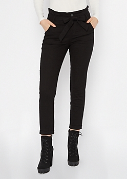 Black Paperbag Sash Tied High Waisted Jeans
