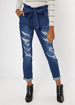 Dark Wash Paperbag Sash Waist Roll Cuff Jeans